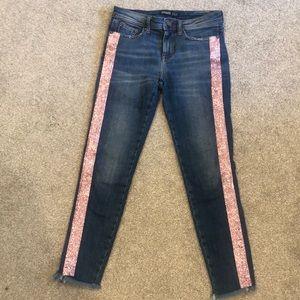 Zara jeans with pink stripe